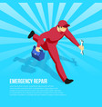 hurrying mechanic isometric vector image vector image