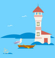 lighthouse and boat on a blue background vector image