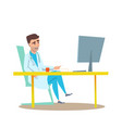 man doctor in office interior flat vector image vector image