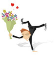 man in love with bouquet of flowers isolated illus vector image