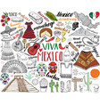 mexico hand drawn sketch set vector image