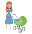 mother walking with newborn vector image vector image