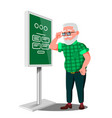 old man using atm digital terminal vector image