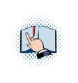 Open book with finger icon vector image vector image