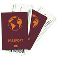 passport and boarding pass tickets vector image vector image