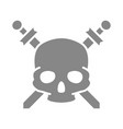 pirate skull with crossed swords grey icon vector image vector image