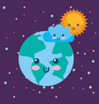 planet earth sun and cloud kawaii weather vector image