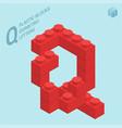plastic blocs letter q vector image vector image