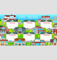 school timetable template with cartoon buildings vector image