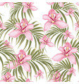 seamless pattern pink orchid flower vector image vector image