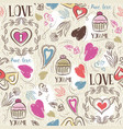 seamless patterned background with hearts vector image vector image