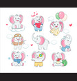 set cute grey baelephants children vector image vector image