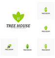 set of tree house logo template leaf house logo vector image