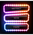 Set with glowing neon frames with light bulbs vector image vector image