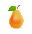 single whole orange pear color on white background vector image