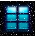 snow night large window vector image