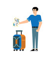traveler male character with suitcase stands and vector image vector image