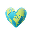 valentines day earth in shape a heart vector image
