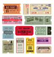 vintage tickets hand ticket circus cinema and vector image vector image