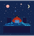 woman with laptop working in bed into night vector image vector image
