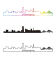 Yokohama skyline linear style with rainbow vector image vector image