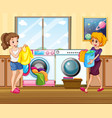 young lady washing clothes vector image vector image