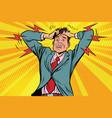 businessman panic head hand illness and medicine vector image