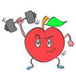 strong apple character collection style vector image