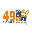 49 year gift box ribbon anniversa vector image vector image