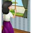 A mother facing the window vector image