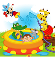 animals in inflatable pool vector image