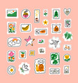 awesome cartoon mail stamps collection collection vector image vector image