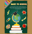 back to school background with school icons vector image vector image