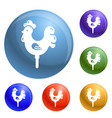 candy cock stick icons set vector image