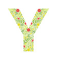 capital letter y green floral alphabet element vector image vector image