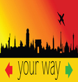 choose your way with city and plane vector image vector image
