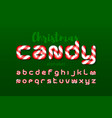 christmas candy cane font vector image vector image