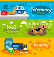 colorful pets horizontal banners vector image vector image