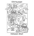 coloring halloween cute ghost and witch friends vector image vector image