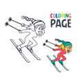 coloring page with women ice skiing player cartoon vector image vector image
