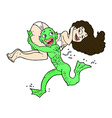comic cartoon swamp monster carrying girl in vector image