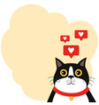 cute cat with hearts and speech bubble copy space vector image vector image