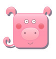 cute square pig isolated on white vector image vector image