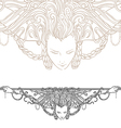 Decorative divider as vintage engraved woman vector image vector image