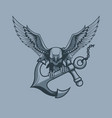 eagle with anchor in claws tattoo style vector image