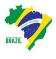 flag and map of brazil vector image vector image