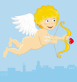 flying cupid with arrow vector image vector image