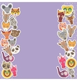 Funny Animals card template lilac background vector image vector image