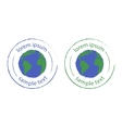 Grunge scratched planet earth logo Green blue vector image vector image