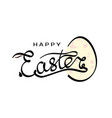 hand drawn inscription happy easter with rabbit vector image vector image